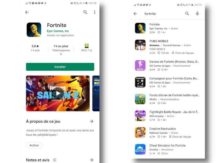 Fortnite enfin disponible sur le Google Play Store d'Android