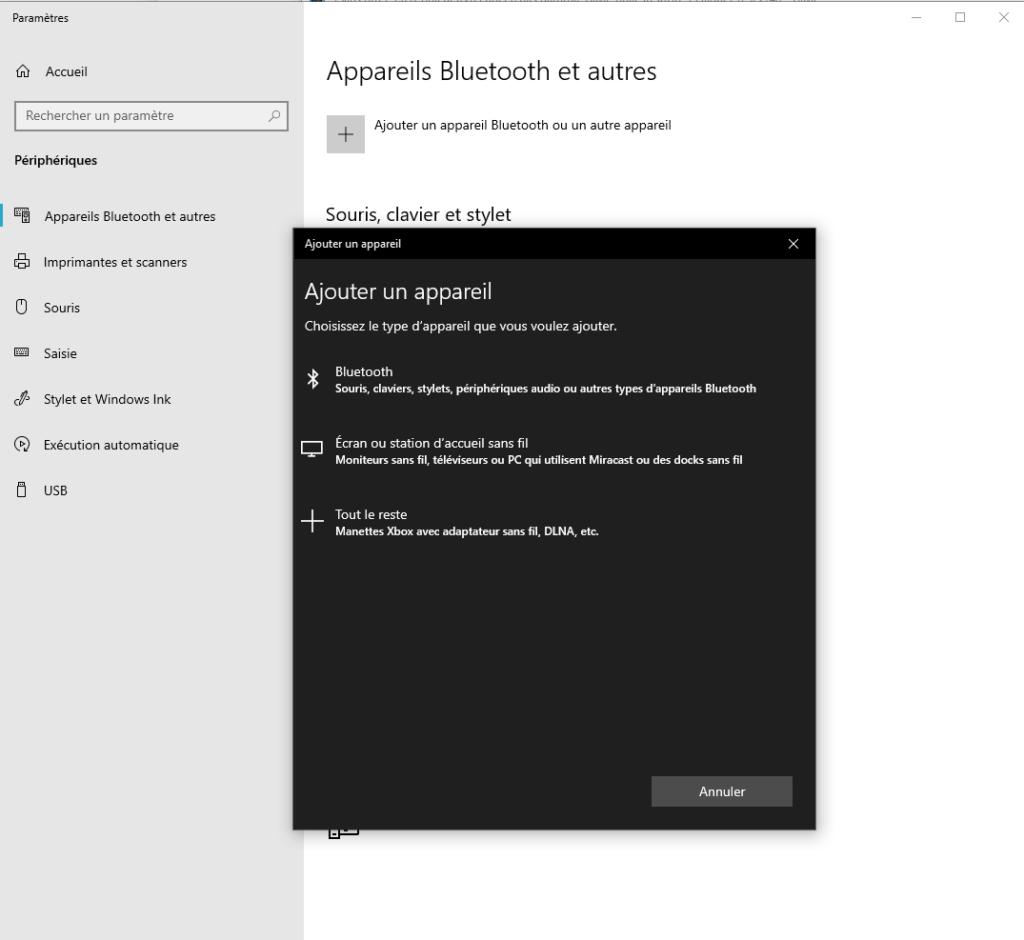 ajouter un périphérique sans fil à Windows 10