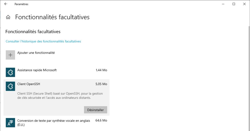 installer le Client OpenSSH intégré de Windows 10