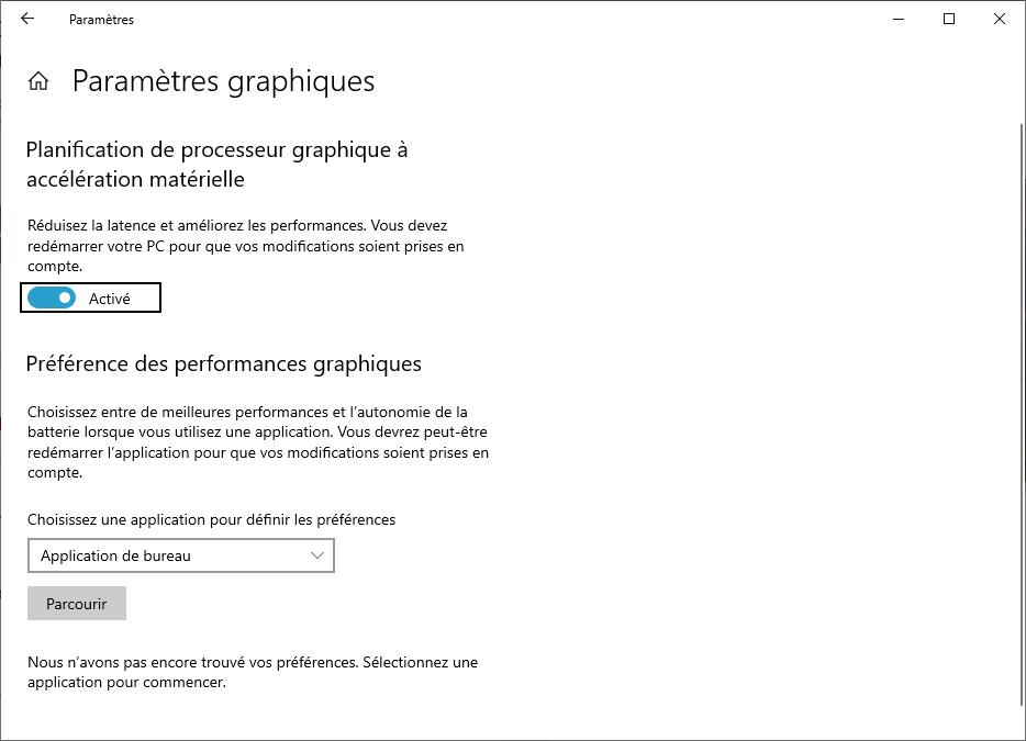 Planification GPU Windows 10- activer le paramètre