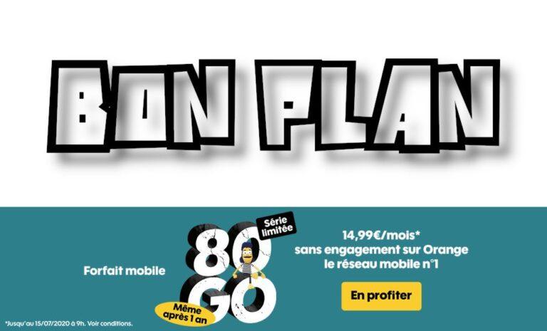 Sosh Forfait 14.99 € : Série limitée 80 Go + 10 Go en Europe, Appels SMS