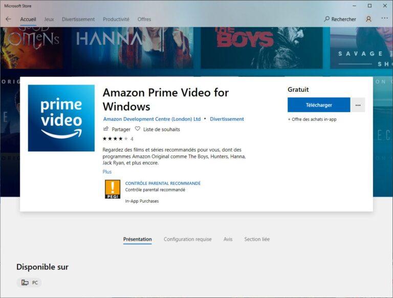 Prime Video : l'application Windows 10 disponible en téléchargement !