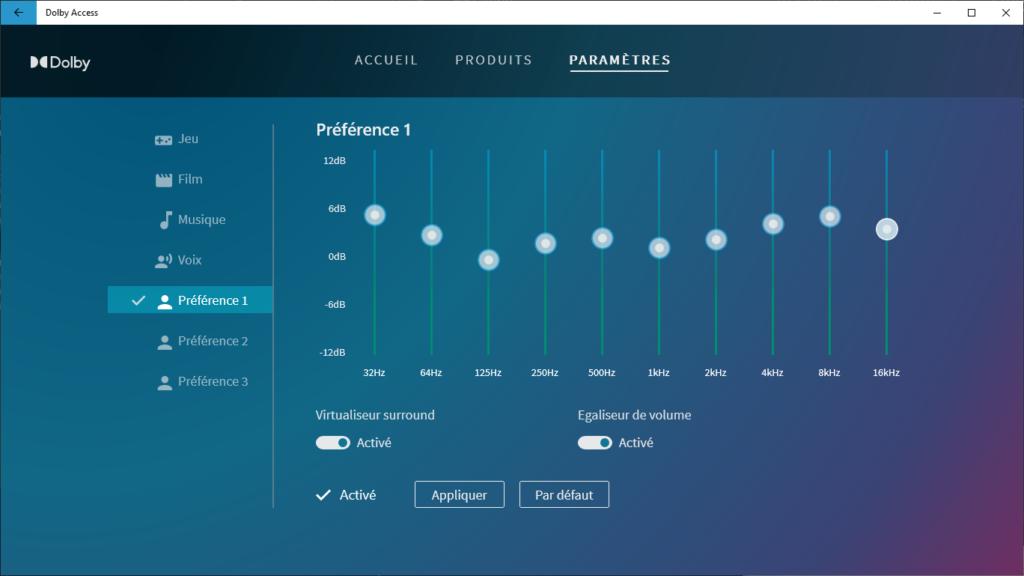 réglages préférence et égaliseur - Dolby Access